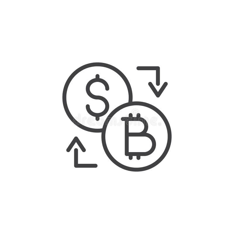 Symbol för översikt för Bitcoin dollarutbyte vektor illustrationer