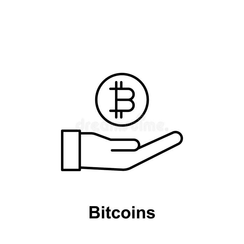 Symbol för översikt för Bitcoin hand säker Beståndsdel av bitcoinillustrationsymboler Tecknet och symboler kan användas för rengö royaltyfri illustrationer