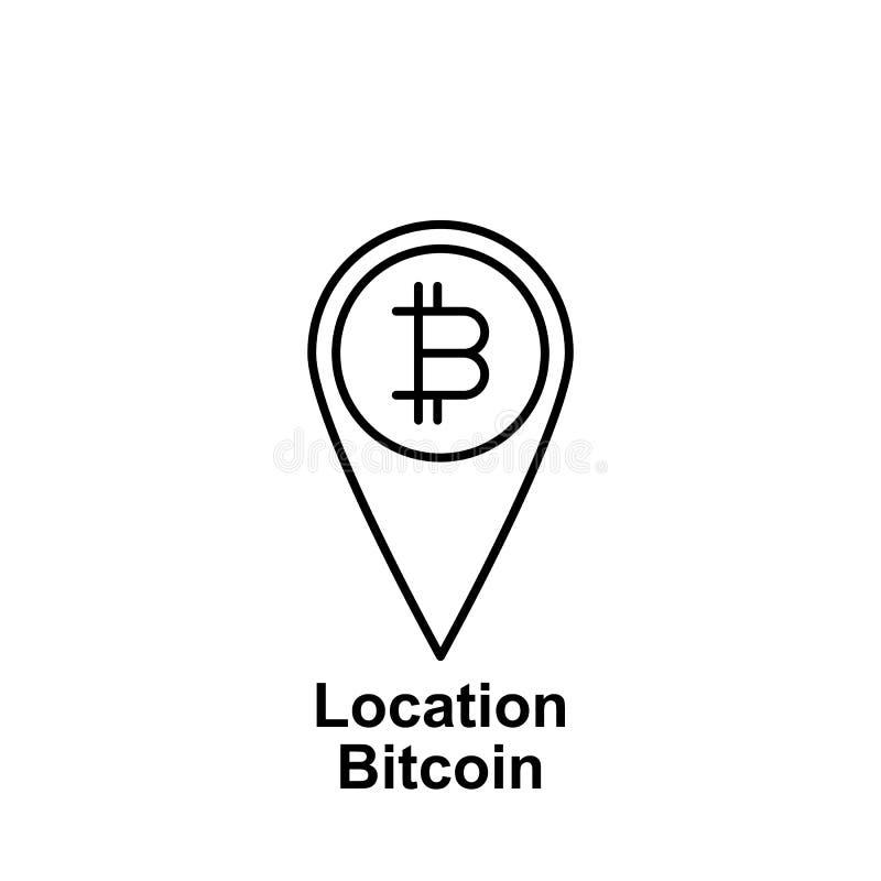 Symbol för översikt för Bitcoin lägestift Beståndsdel av bitcoinillustrationsymboler r vektor illustrationer