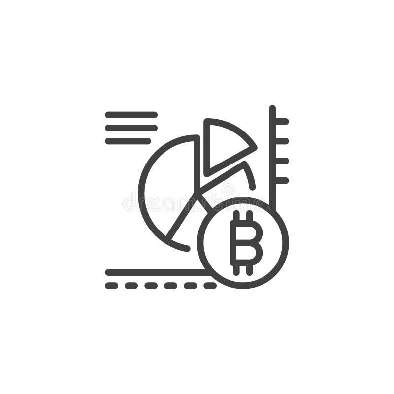 Symbol för översikt för Bitcoin pajdiagram vektor illustrationer