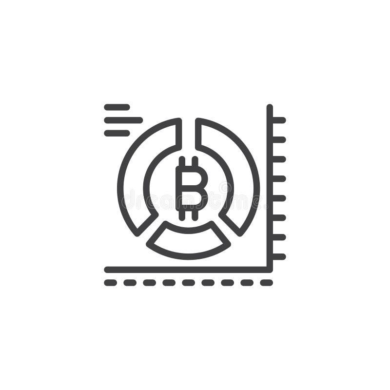 Symbol för översikt för Bitcoin pajdiagram stock illustrationer