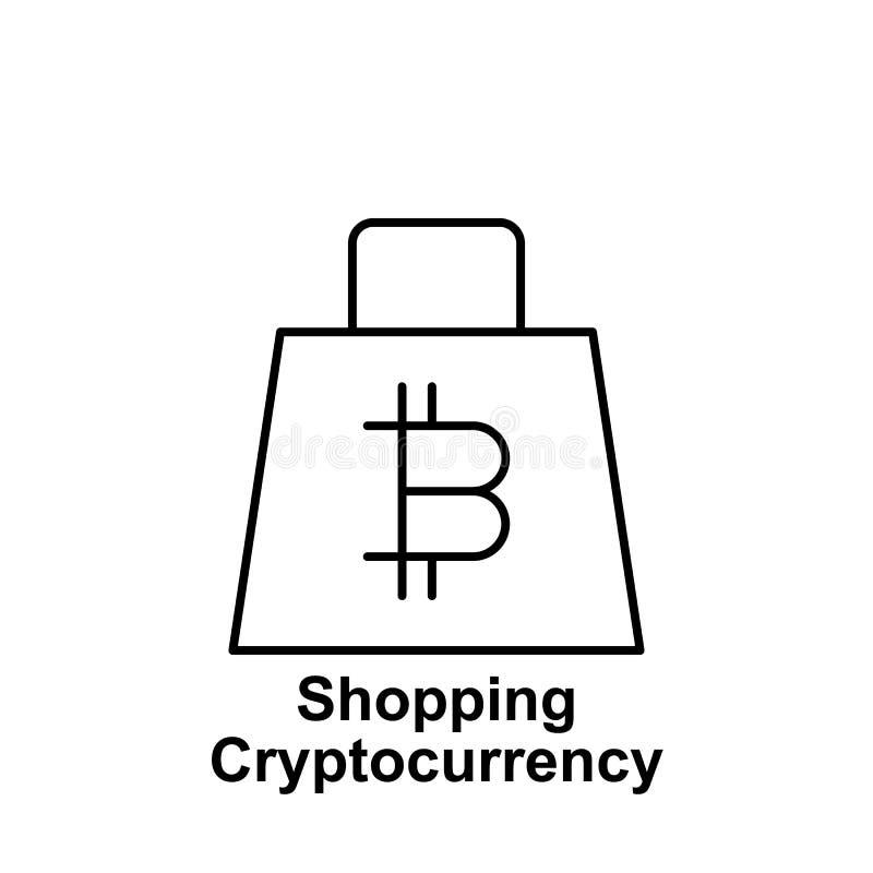 Symbol för översikt för Bitcoin shoppingpåse Beståndsdel av bitcoinillustrationsymboler r vektor illustrationer