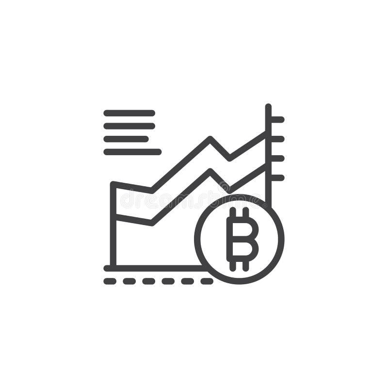 Symbol för översikt för Bitcoin tillväxtdiagram royaltyfri illustrationer