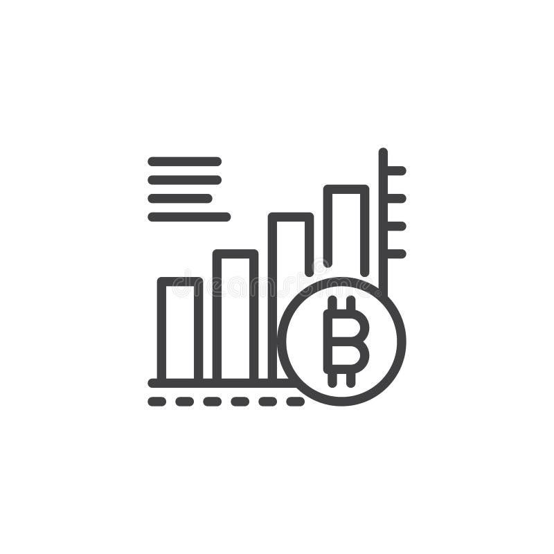 Symbol för översikt för Bitcoin växande grafdiagram royaltyfri illustrationer