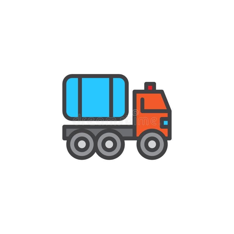 Symbol för översikt för brandlastbil fylld stock illustrationer