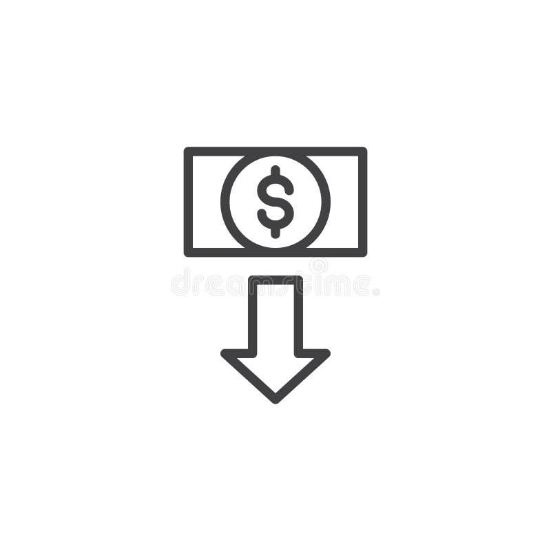Symbol för översikt för dollar för valutautbyte royaltyfri illustrationer