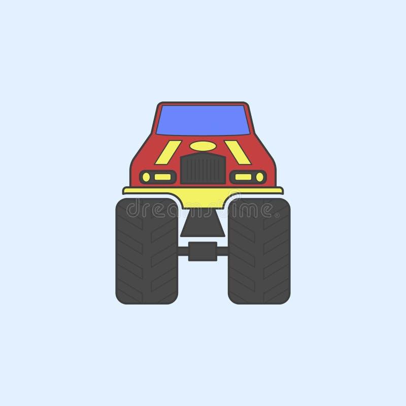 symbol för översikt för fält för bigfoot bilframdel Beståndsdelen av gigantiska lastbilar visar symbolen för mobila begrepps- och royaltyfri illustrationer