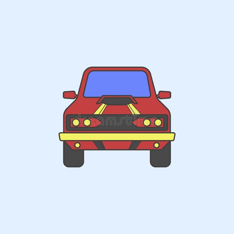 symbol för översikt för fält för muskelbilframdel Beståndsdelen av gigantiska lastbilar visar symbolen för mobila begrepps- och r stock illustrationer