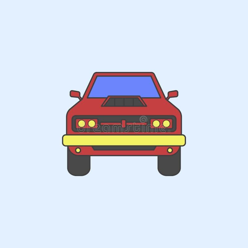 symbol för översikt för fält för muskelbilframdel Beståndsdelen av gigantiska lastbilar visar symbolen för mobila begrepps- och r vektor illustrationer