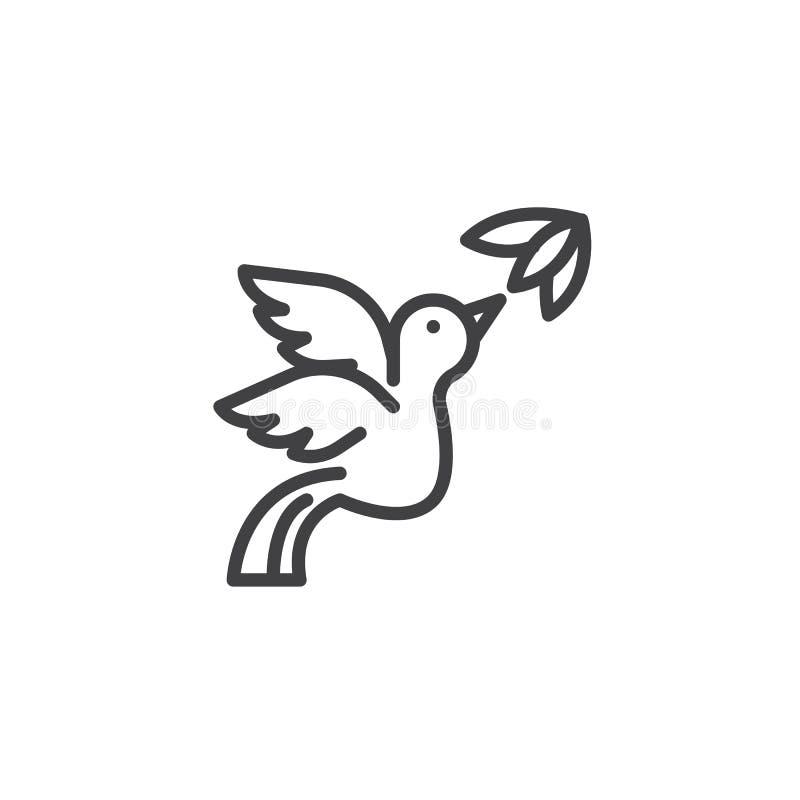 Symbol för översikt för flygfågel och blomma stock illustrationer