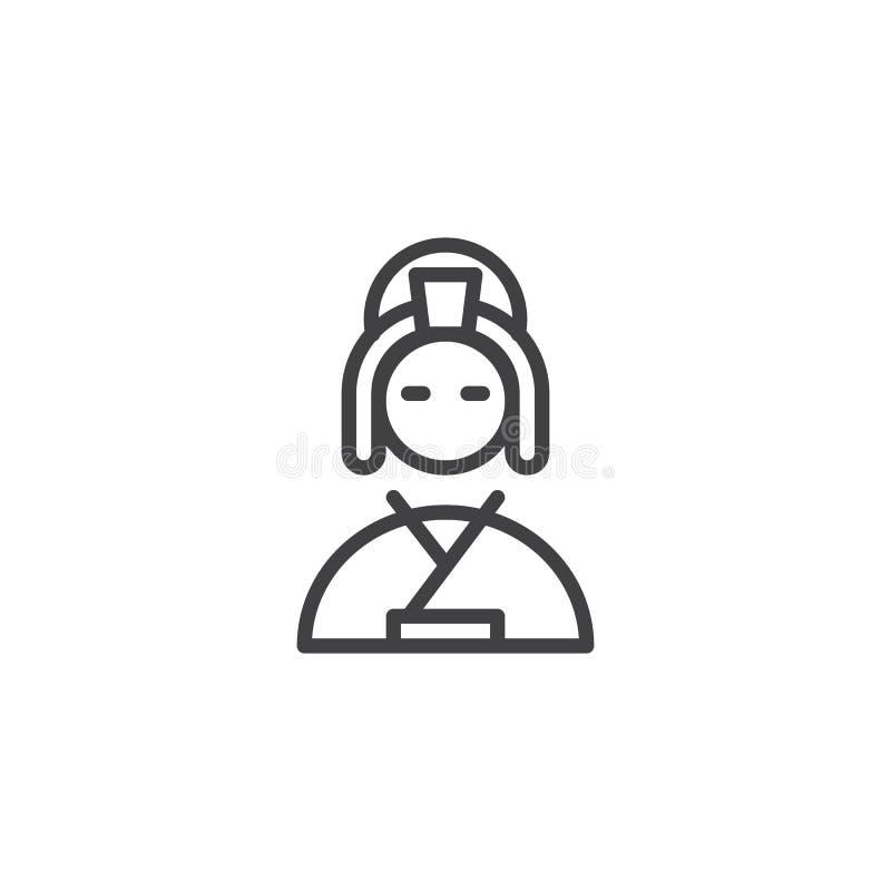 Symbol för översikt för Geishaflicka royaltyfri illustrationer