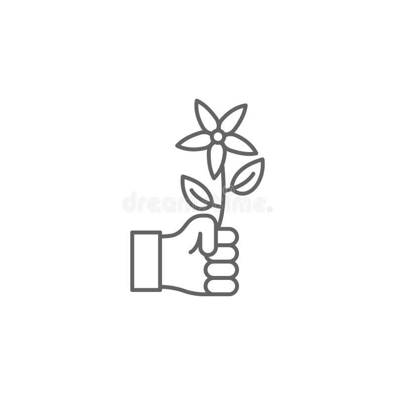 symbol för översikt för handblommakamratskap Beståndsdelar av kamratskaplinjen symbol Tecknet, symboler och vektorer kan användas royaltyfri illustrationer