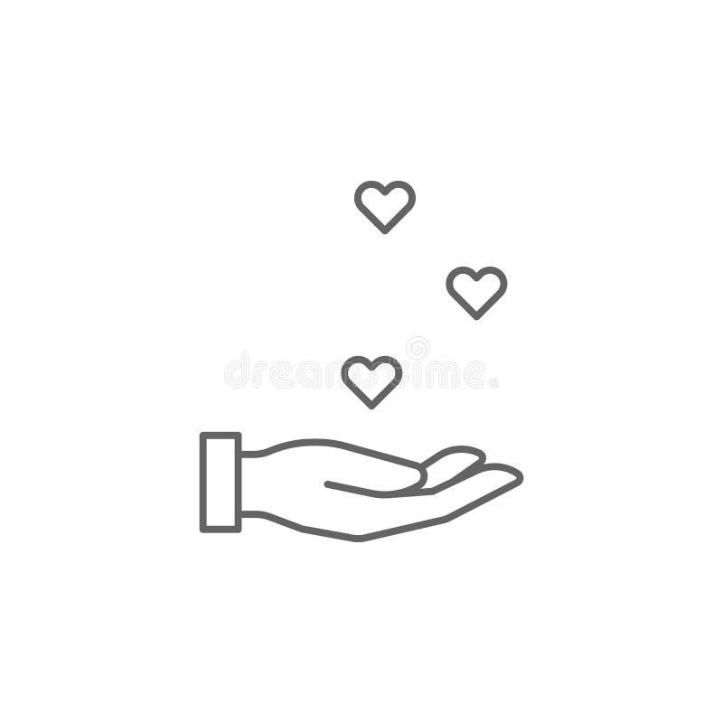symbol för översikt för handhjärtakamratskap Beståndsdelar av kamratskaplinjen symbol Tecknet, symboler och vektorer kan användas royaltyfri illustrationer