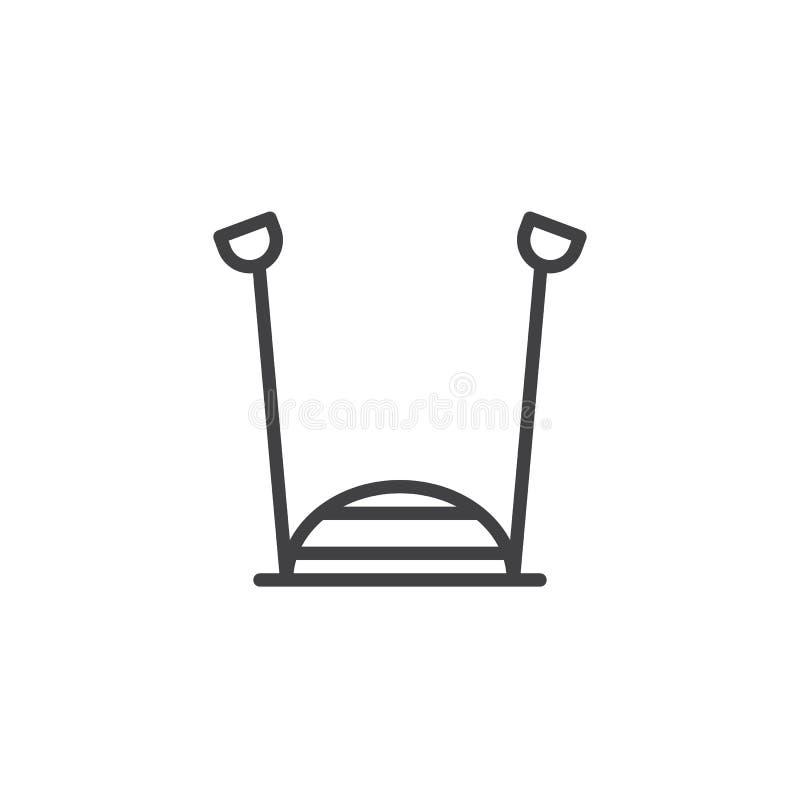 Symbol för översikt för idrottshalljämviktsboll vektor illustrationer