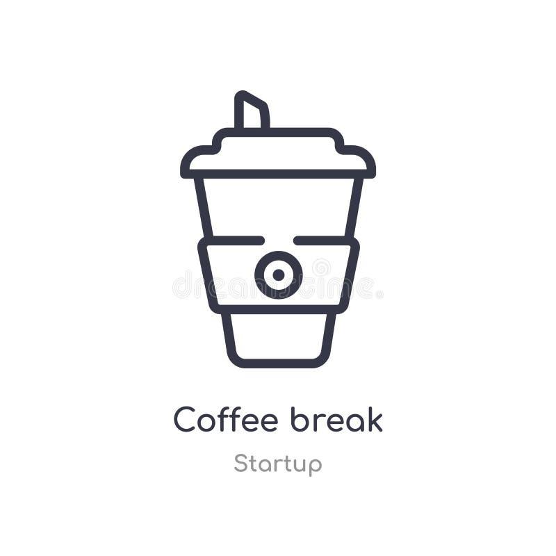 symbol för översikt för kaffeavbrott isolerad linje vektorillustration fr?n startsamling redigerbar tunn symbol för slaglängdkaff royaltyfri illustrationer