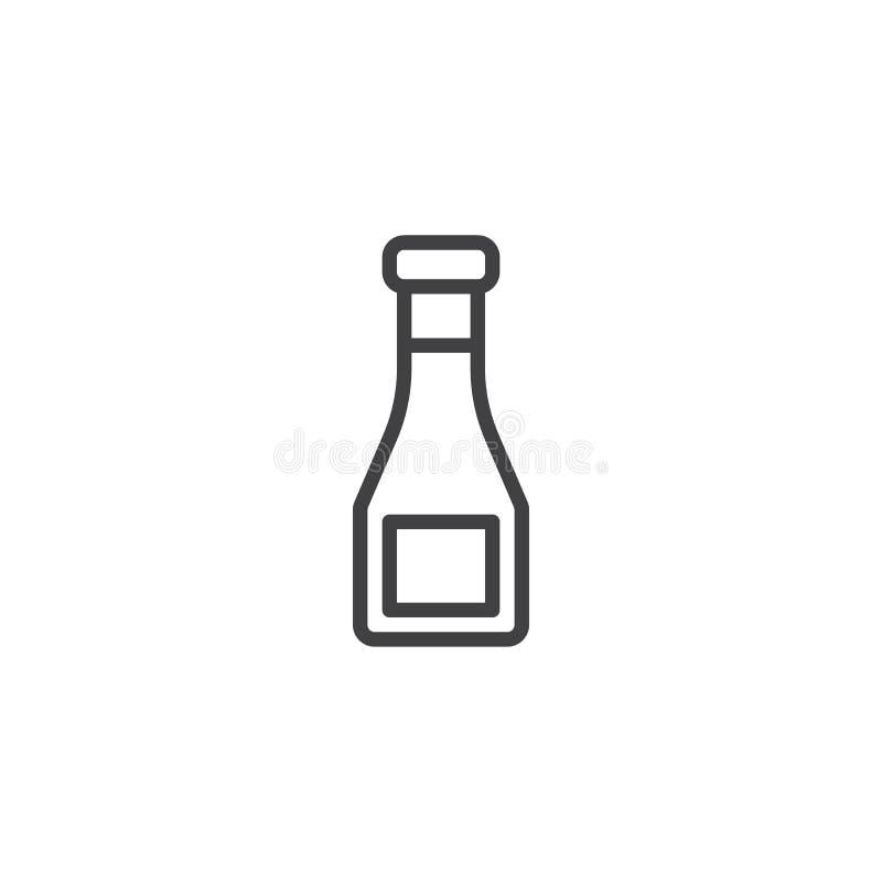 Symbol för översikt för ketchupflaska royaltyfri illustrationer