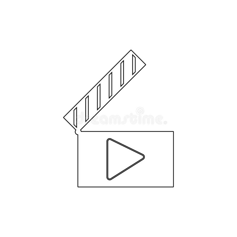 Symbol för översikt för ljudsignal för clapperfilmfilm plats för lek video Tecknet och symboler kan anv?ndas f?r reng?ringsduken, royaltyfria bilder