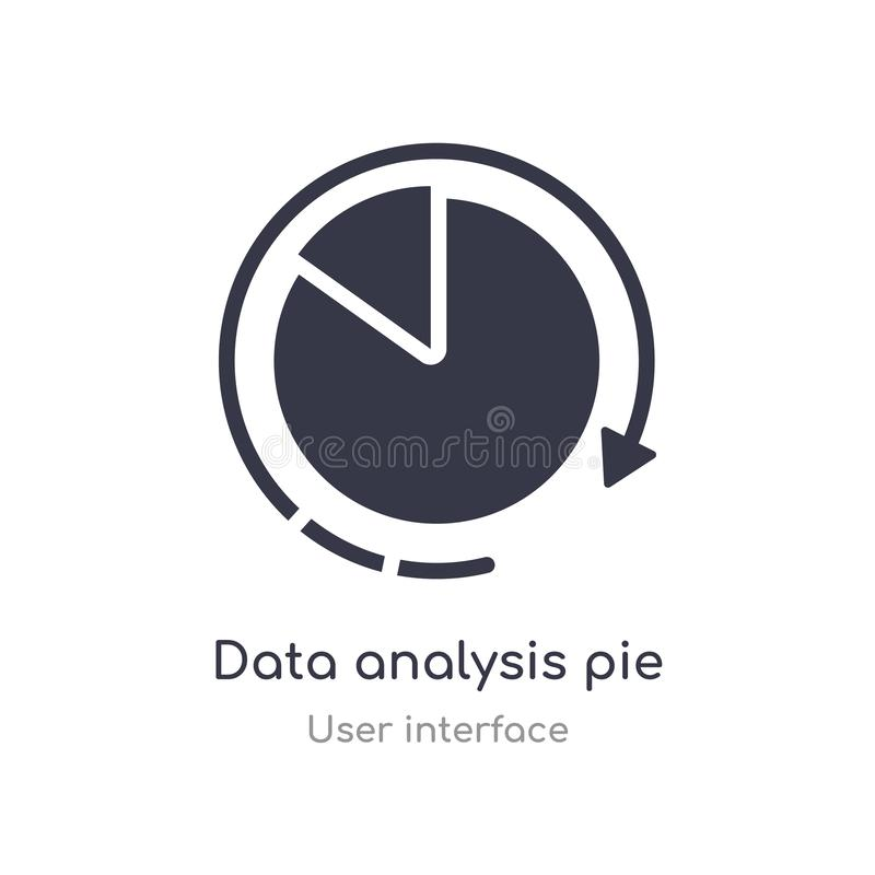 symbol för översikt för manöverenhet för diagram för paj för dataanalys isolerad linje vektorillustration fr?n anv?ndargr?nssnitt stock illustrationer