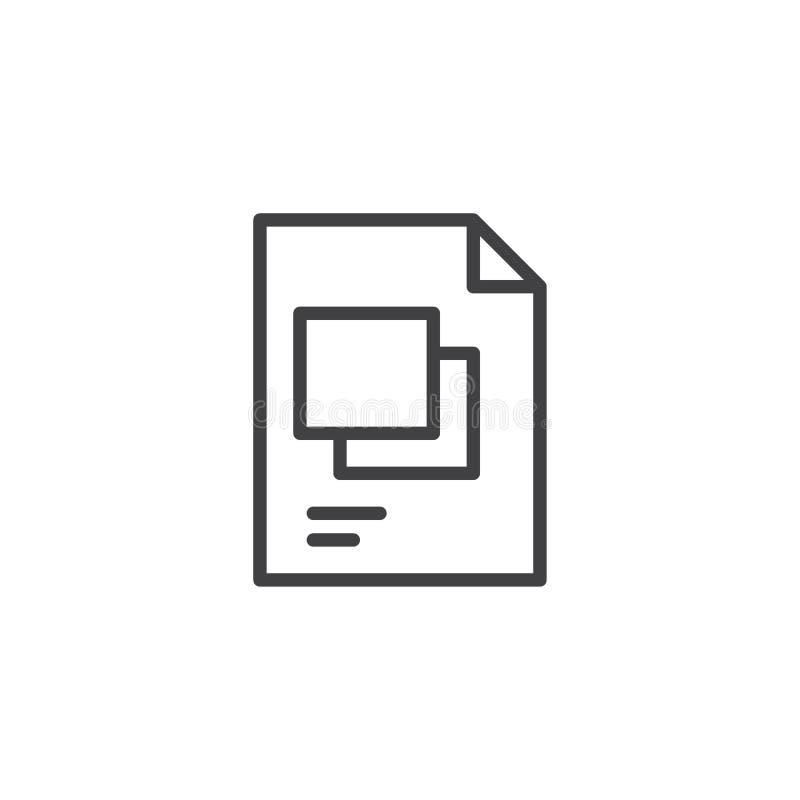 Symbol för översikt för mappformat vektor illustrationer
