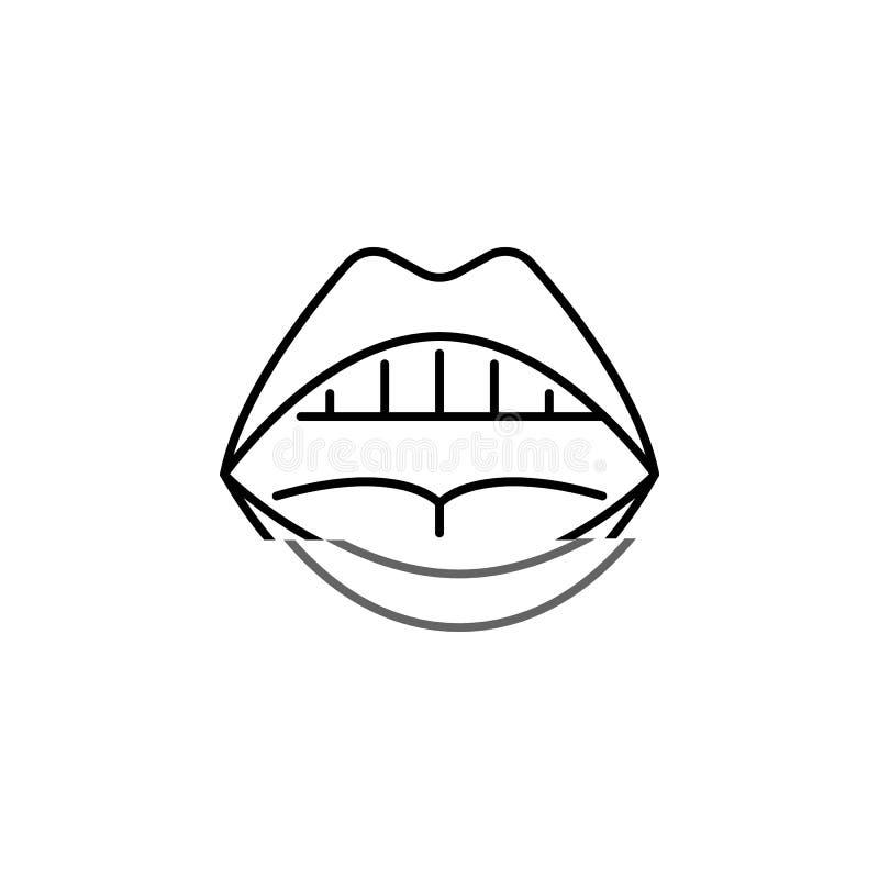 Symbol för översikt för mun för mänskligt organ öppen Tecknet och symboler kan användas för rengöringsduken, logoen, den mobila a stock illustrationer