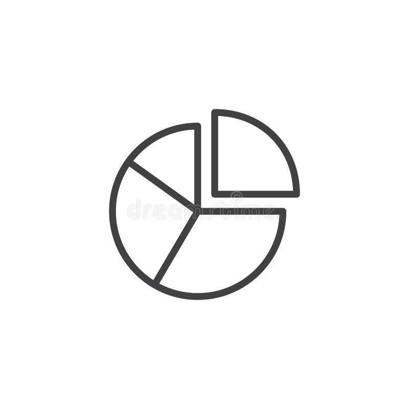 Symbol för översikt för pajdiagram vektor illustrationer