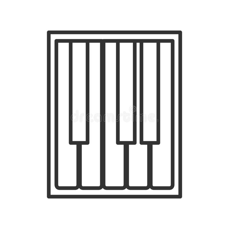 Symbol för översikt för pianotangentbord plan på vit stock illustrationer