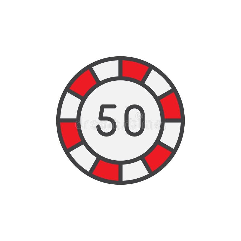 Symbol för översikt för pokerchip femtio fylld stock illustrationer