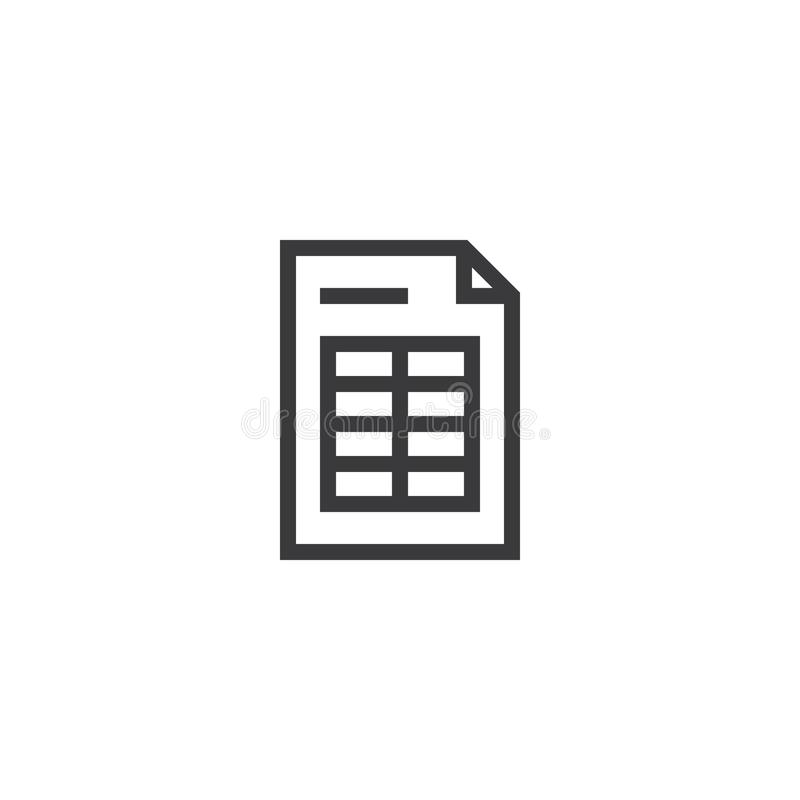 symbol för översikt för räknearkdokumentpapper isolerad symbol för anmärkningspapper i den tunna linjen stil för diagram och reng royaltyfri illustrationer