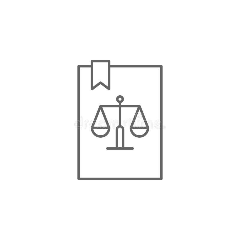 Symbol för översikt för rättvisalagbok Beståndsdelar av lagillustrationlinjen symbol Tecknet, symboler och vektorer kan användas  royaltyfri illustrationer