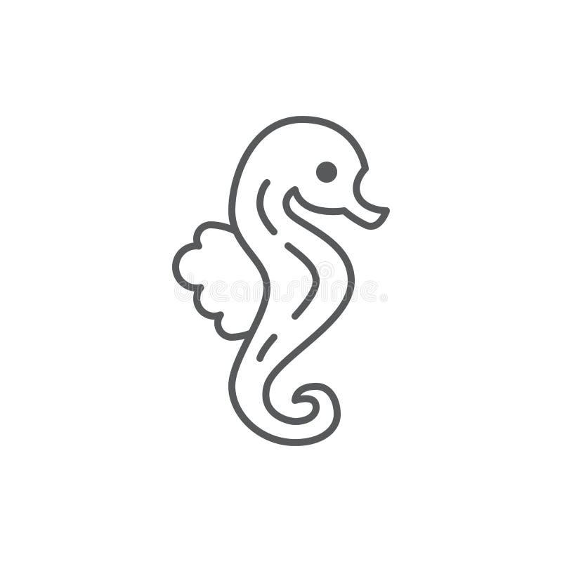 Symbol för översikt för redigerbart PIXEL för havshäst som perfekt isoleras på vit bakgrund vektor illustrationer