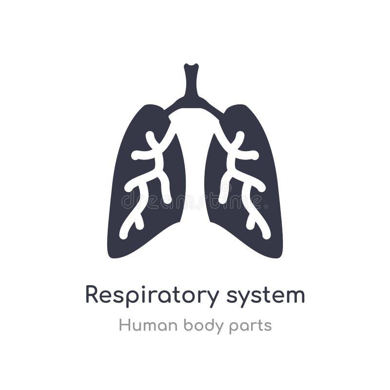 symbol för översikt för respiratoriskt system isolerad linje vektorillustration fr?n samling f?r m?nniskokroppdelar redigerbar tu royaltyfri illustrationer