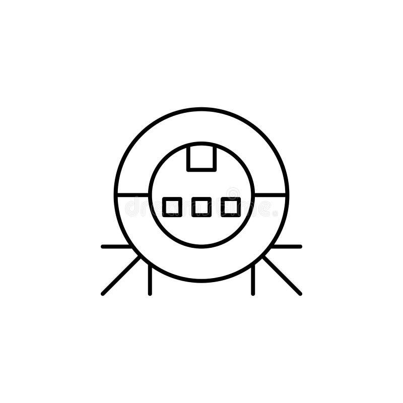 Symbol för översikt för robotteknikrobotvakuum Tecknet och symboler kan användas för rengöringsduken, logoen, den mobila appen, U royaltyfri illustrationer