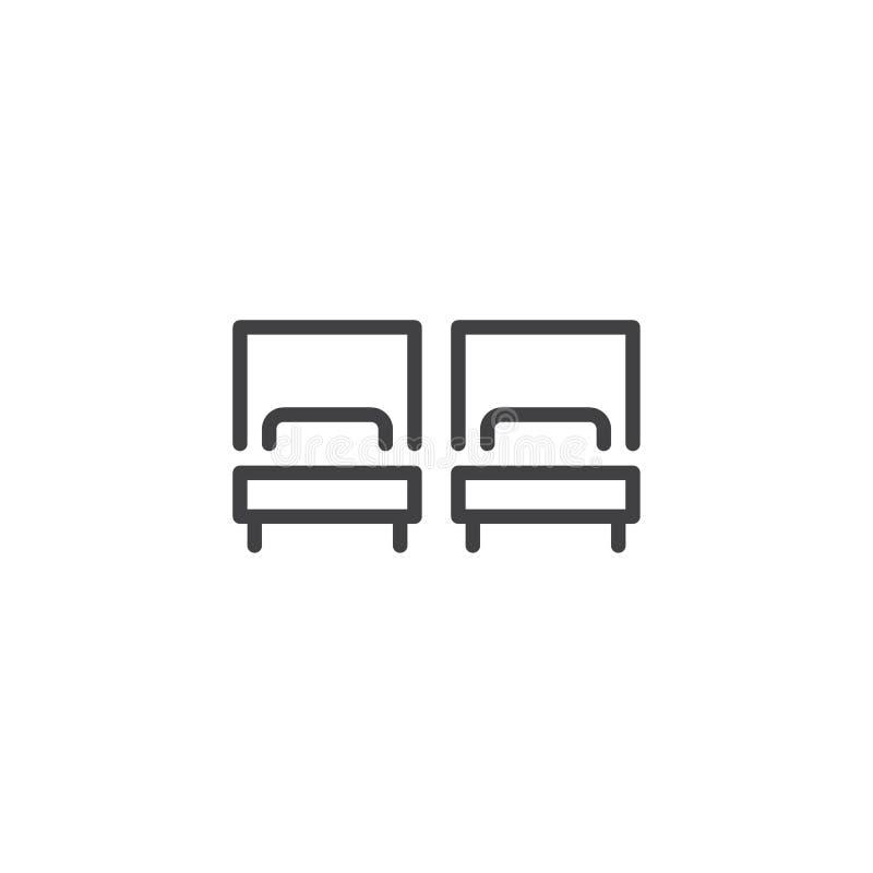 Symbol för översikt för rum för tvilling- säng för hotell vektor illustrationer