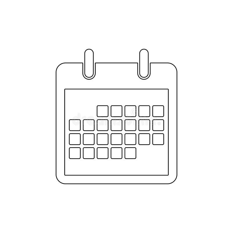 Symbol för översikt för schema för månad för händelse för dag för kalenderdatum Tecknet och symboler kan anv?ndas f?r reng?ringsd royaltyfri illustrationer