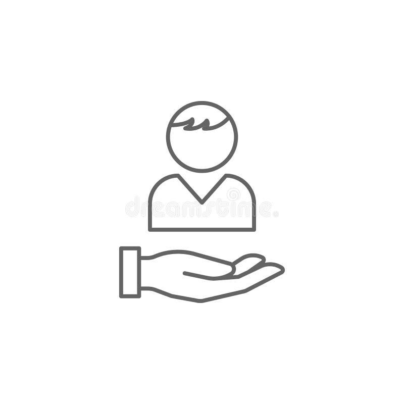 symbol för översikt för servicehandkamratskap Beståndsdelar av kamratskaplinjen symbol Tecknet, symboler och vektorer kan använda royaltyfri illustrationer
