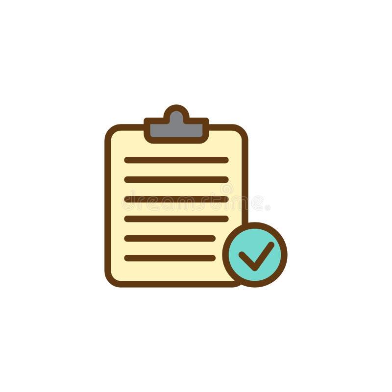 Symbol för översikt för skrivplattakontrollfläck fylld stock illustrationer