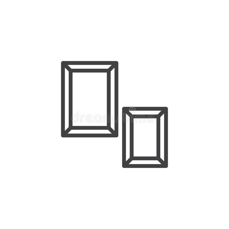 Symbol för översikt för två fotoramar royaltyfri illustrationer