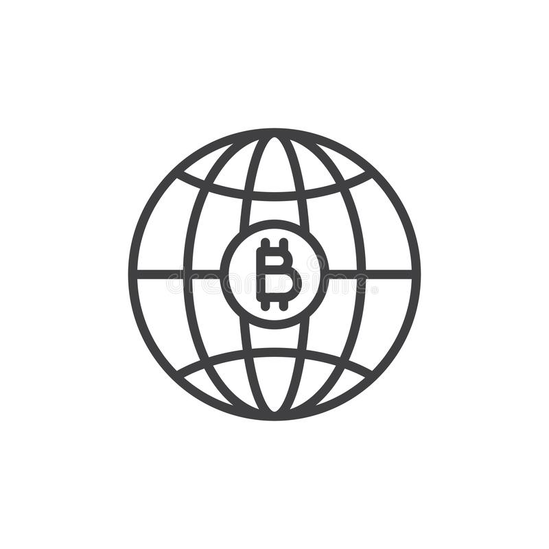 Symbol för översikt för världsbitcoinpengar vektor illustrationer