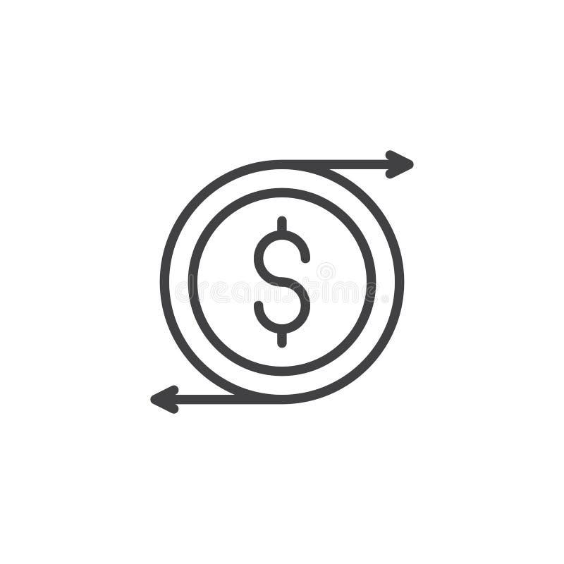 Symbol för översikt för valutautbyte vektor illustrationer