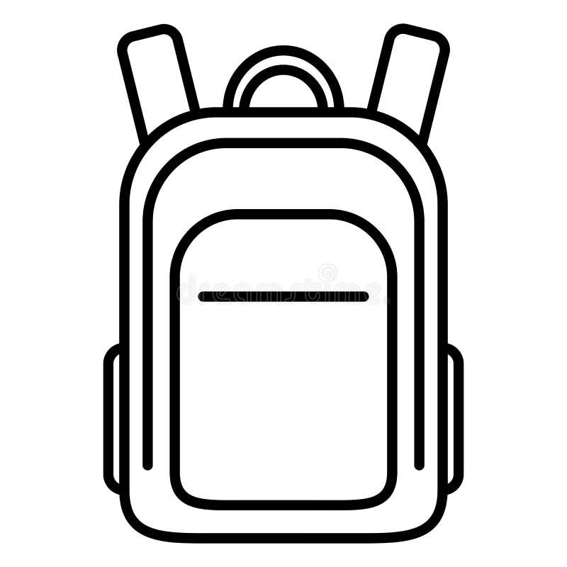 Symbol för översikt för vektorsingelsvart - skolapåse Vanlig ryggsäck vektor illustrationer