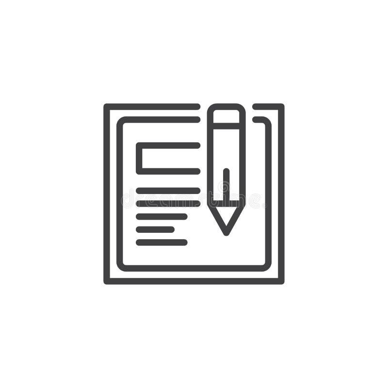 Symbol för översikt för webbläsarefönster och blyertspenna vektor illustrationer