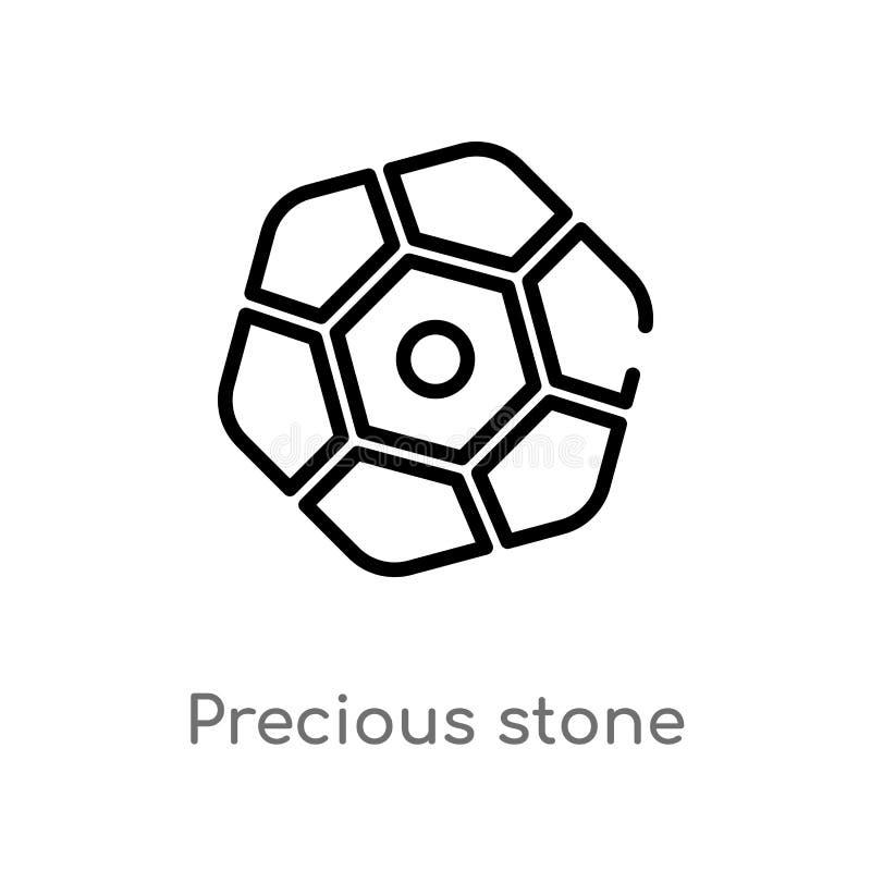 symbol för översiktsädelstenvektor isolerad svart enkel linje beståndsdelillustration från modebegrepp Redigerbar vektorslaglängd stock illustrationer