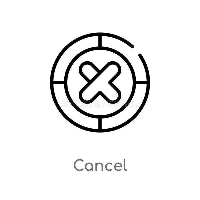 symbol för översiktsannulleringsvektor isolerad svart enkel linje beståndsdelillustration från användargränssnittbegrepp Redigerb royaltyfri illustrationer