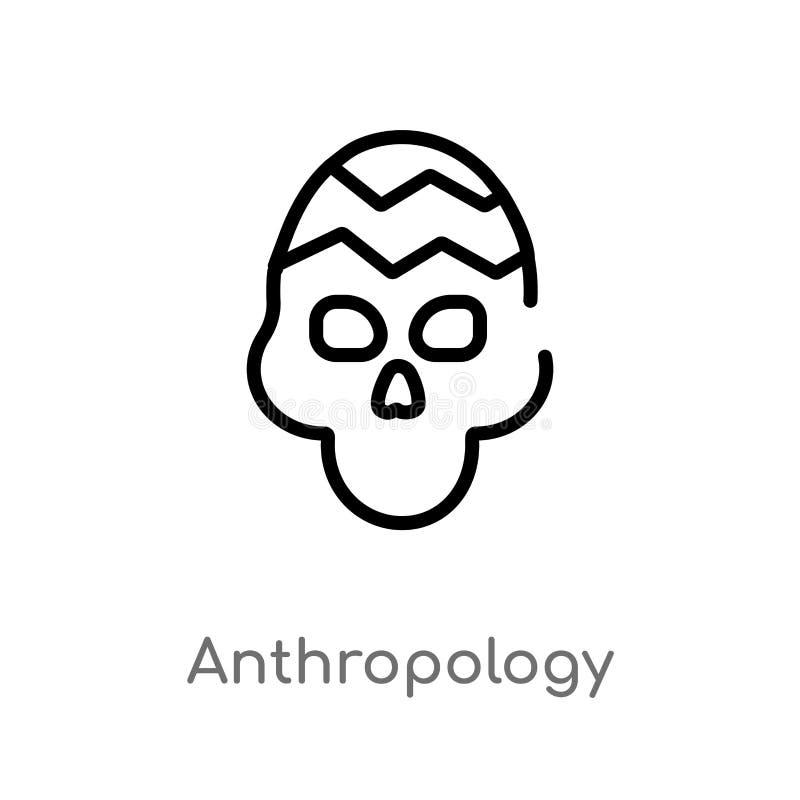 symbol för översiktsantropologivektor isolerad svart enkel linje beståndsdelillustration från museumbegrepp Redigerbar vektorslag stock illustrationer