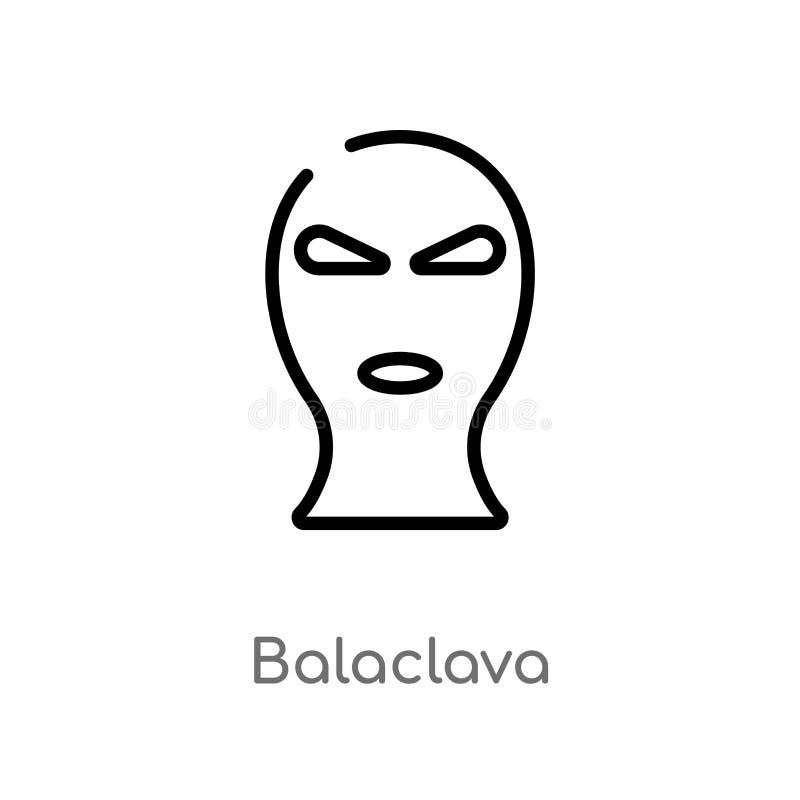 symbol för översiktsbalaclavavektor isolerad svart enkel linje beståndsdelillustration från lag- och rättvisabegrepp Redigerbar v vektor illustrationer