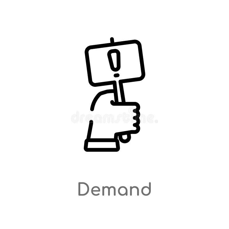symbol för översiktsbegäranvektor isolerad svart enkel linje beståndsdelillustration från att marknadsföra begrepp redigerbar vek royaltyfri illustrationer