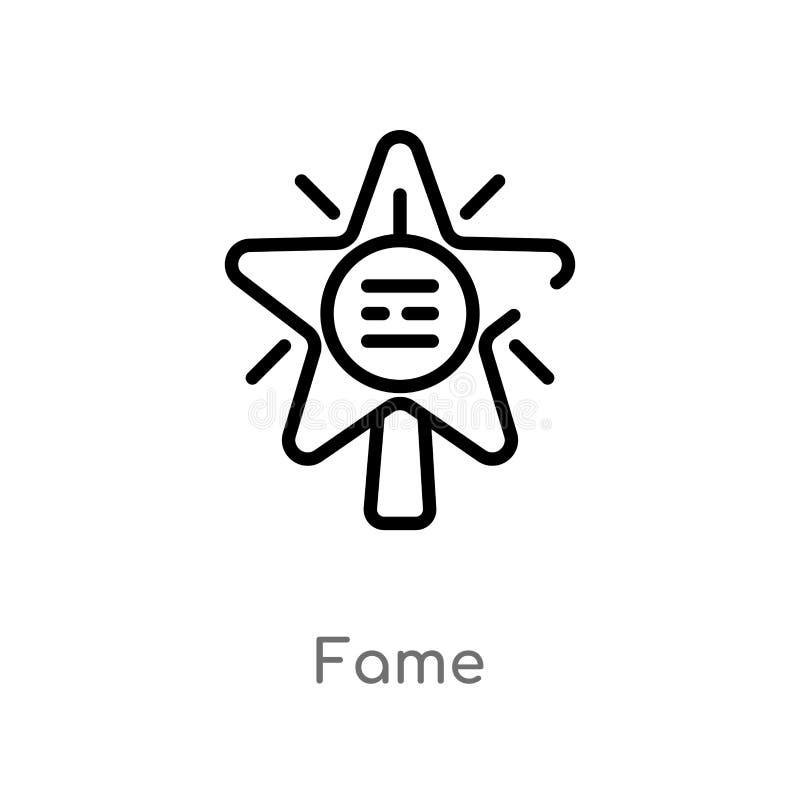 symbol för översiktsberömmelsevektor isolerad svart enkel linje beståndsdelillustration från blogger- och influencerbegrepp Redig stock illustrationer