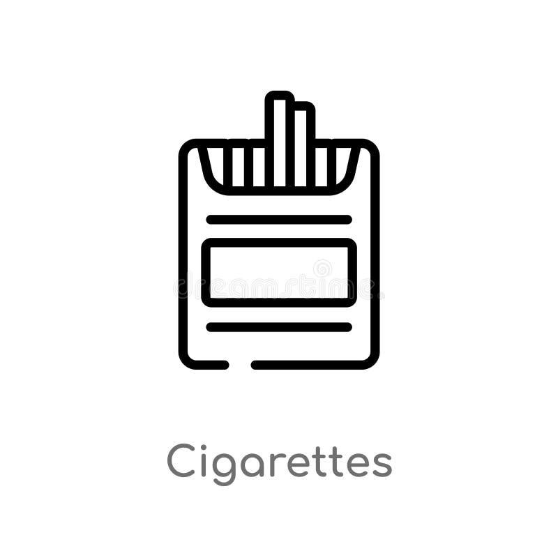 symbol för översiktscigarettvektor royaltyfri illustrationer
