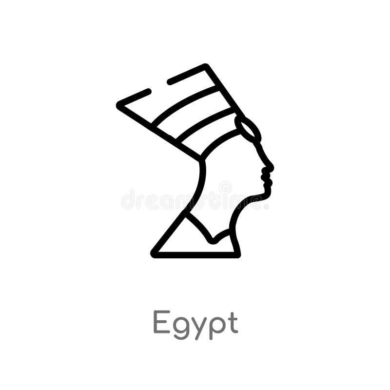 symbol för översiktsEgypten vektor isolerad svart enkel linje beståndsdelillustration från historiebegrepp redigerbar vektorslagl vektor illustrationer