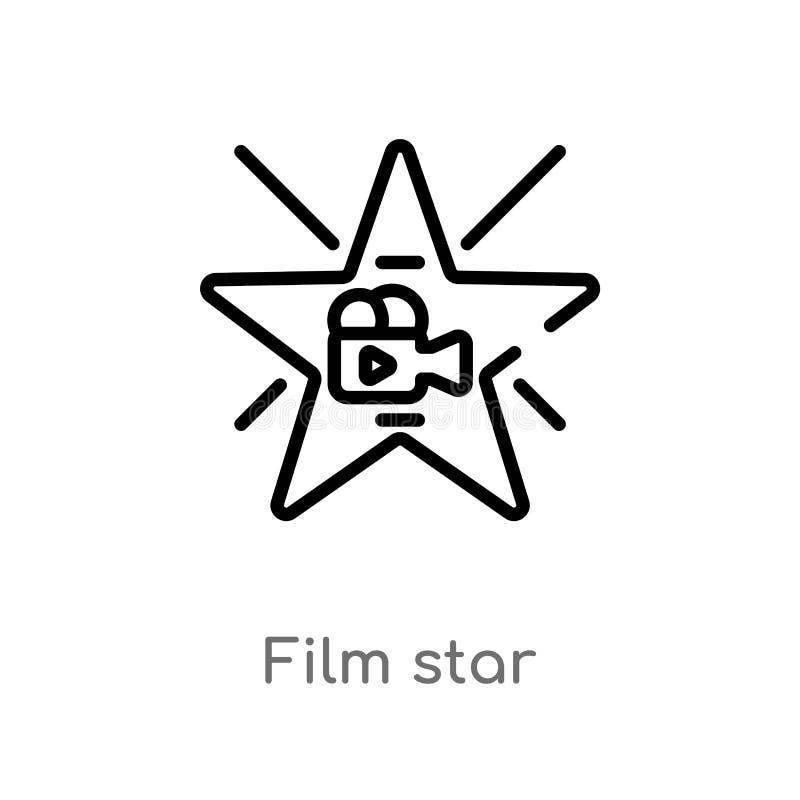 symbol för översiktsfilmstjärnavektor isolerad svart enkel linje beståndsdelillustration från biobegrepp redigerbar vektorslaglän royaltyfri illustrationer
